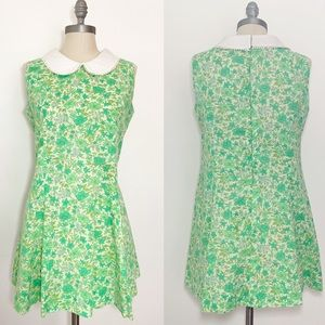 VTG Handmade 60s Green Peter Pan Collar Dress